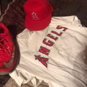 Angels hat 7&3/8fitted &!L shirt
